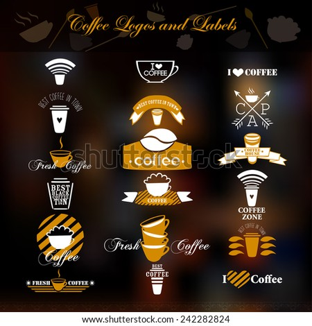 Coffee logos and labels. Vector.   - stock vector