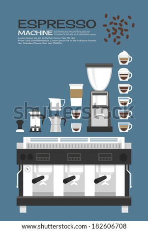 Coffee machine - accessories icons design, vector - stock vector