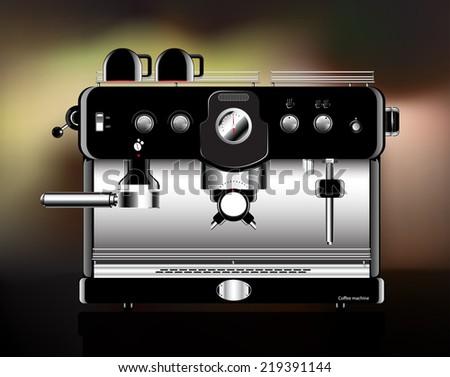 Coffee machine realistic black. vector illustration. - stock vector