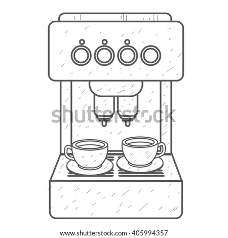 Coffee machine red. Household appliances outline drawing.
