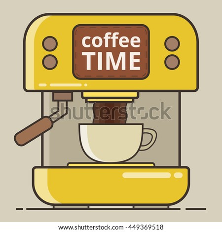 Coffee machine with a hot coffee cup. Flat vector illustration.