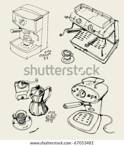 coffee machines - stock vector