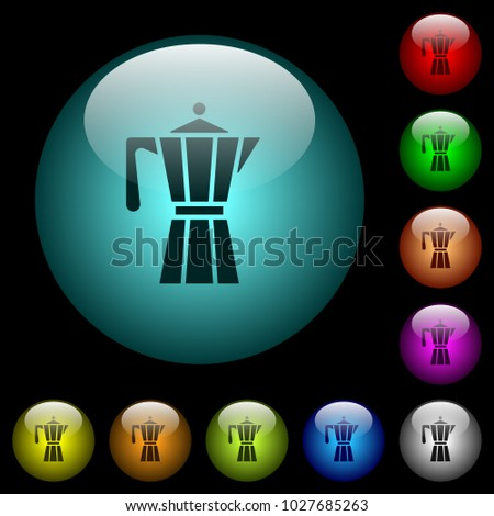 Coffee Maker Icons Color Illuminated Spherical Stock Photo (Photo ...