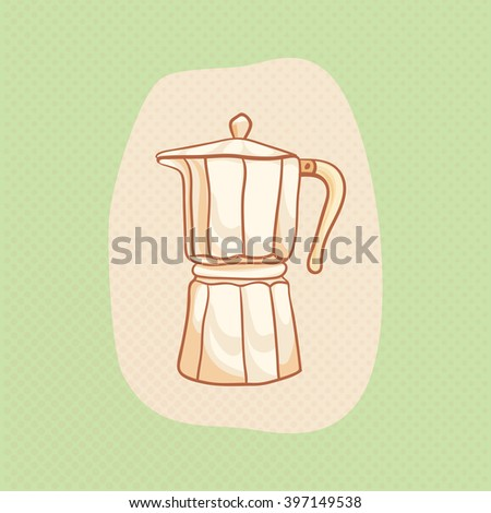 Coffee maker sketchy vector clipart. Vector design moka pot element. Moka pot sketch for coffee house flyer, banner, ad, package, poster. Hand drawn moka pot. Coffeemaker vector icon - stock vector