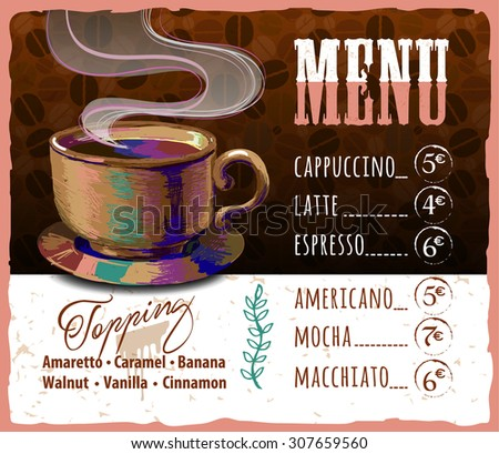 Coffee menu design in vintage style for cafe - stock vector