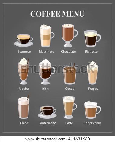 Coffee menu on chalkboard. Different drink types including espresso, macchiato, chocolate, ristretto, mocha, irish, cocoa, frappe, glace, americano, latte, cappuccino. - stock vector