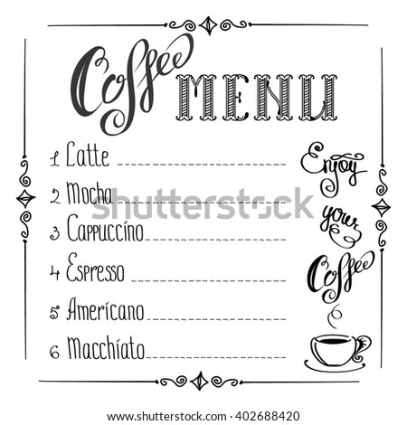 coffee menu on white background, vector illustration - stock vector