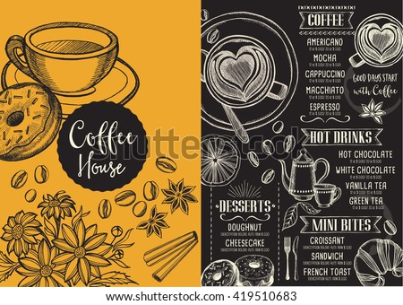 Coffee Menu Placemat Food Restaurant Brochure Stock Vector HD ...