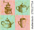 Coffee mill, teapot and cup, vector sketch pattern - stock photo