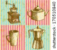 Coffee mill, teapot, geyser coffee maker and cup, vector sketch pattern - stock