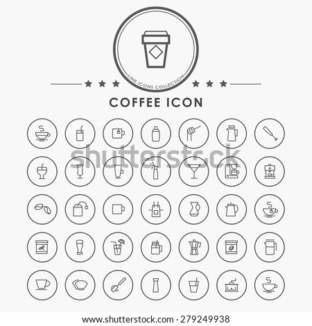 coffee minimal line icons with circle button - stock vector