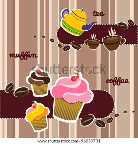 Coffee, muffin and tea restaurant design - stock vector