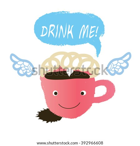 coffee or chocolate with cream cartoon character. - stock vector