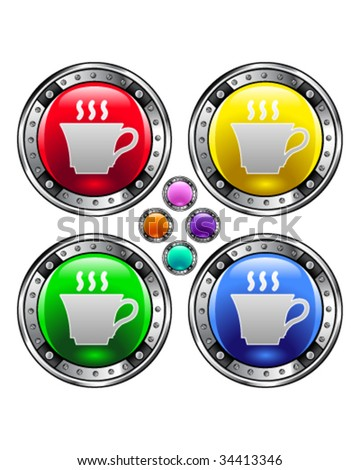 Coffee or tea cup icon on on round colorful vector buttons suitable for use on websites, in print materials or in advertisements.  Set includes red, yellow, green, and blue versions.