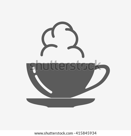 Coffee or tea cup with steam cloud. Vector icon - stock vector