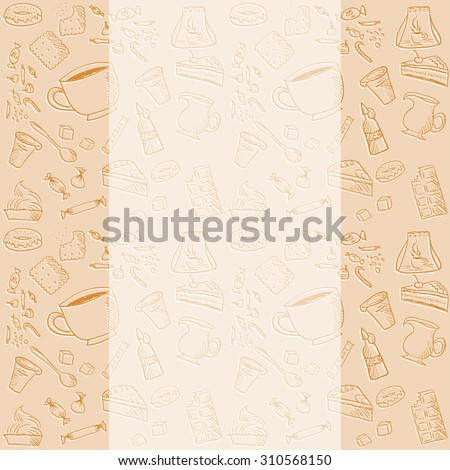coffee or tea pastel vintage sketch background. Template for menu or background for text.  - stock vector