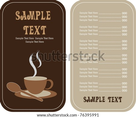 Coffee Tea Shop Menu Card Stock Vector   Shutterstock