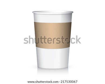 Coffee paper cup and cup sleeve