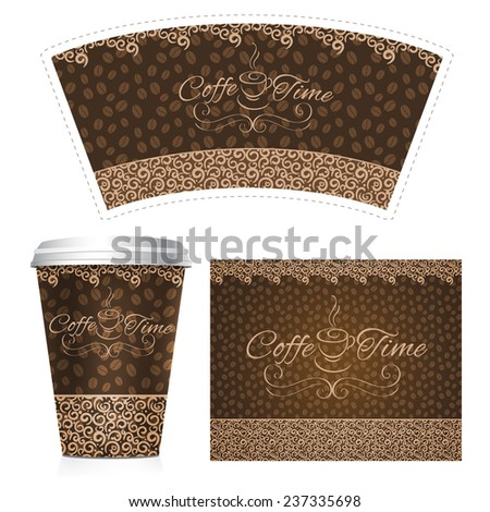 Coffee paper cup 3d realistic plastic container set isolated vector illustration - stock vector