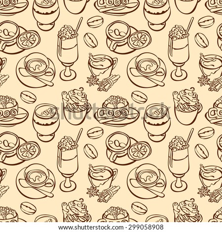 Coffee pattern. Coffee cup: espresso, cappuccino, latte. Vector seamless background.