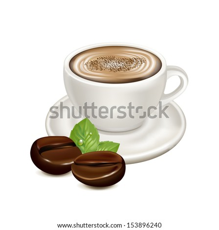 coffee porcelain cup and coffee beans isolated on white - stock vector
