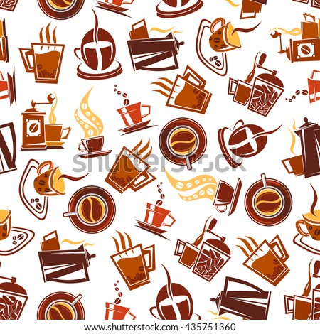 Coffee pots and manual grinders seamless pattern with steaming cups decorated by coffee beans  in brown and yellow colors. May be use as coffee shop menu backdrop or kitchen interior design - stock vector