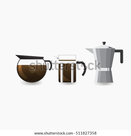 Coffee Pots, Icon set, Front view for Menu of Cafe and Restaurant, Vector, Illustration