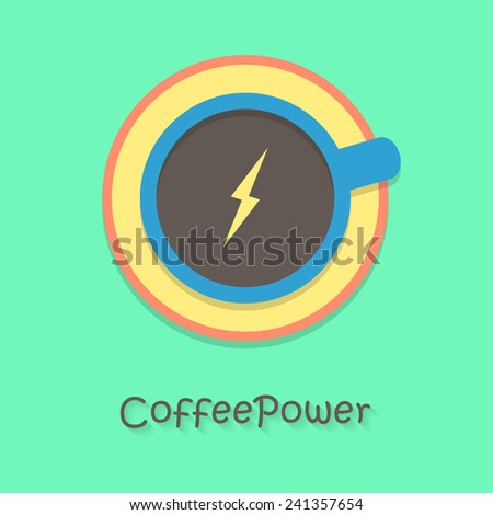 coffee power with blue cup. concept of cheerfulness, traditional breakfast, recharge your batteries and beginning of the day. flat style trendy modern logo design vector illustration - stock vector