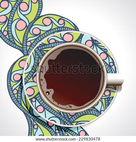 Coffee. Realistic white cup of coffee. Coffee with Hand drawn ornate paint background.  Vector illustration 10 EPS  - stock vector