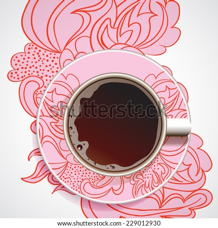 Coffee. Realistic white cup of coffee. Hand drawn coffee on ornate paint background. Vector illustration 10 EPS - stock vector