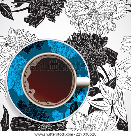 Coffee. Realistic white cup of coffee. Hand drawn coffee with ornament and flower background. Vector illustration 10 EPS - stock vector