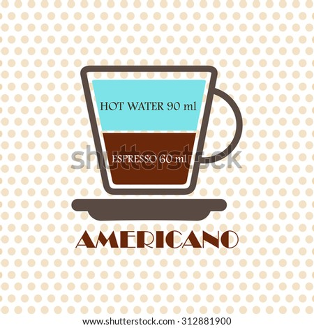 Coffee recipe Americano - stock vector