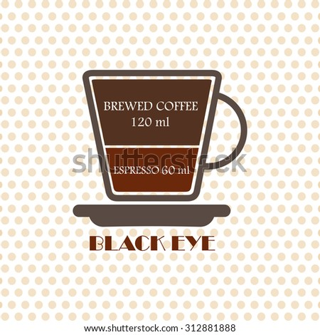Coffee recipe Black Eye - stock vector