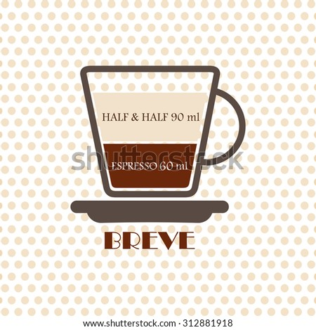 Coffee recipe Breve - stock vector