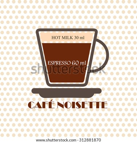 Coffee recipe Cafe Noisette - stock vector