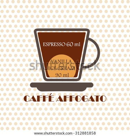 Coffee recipe Caffe Affogato - stock vector