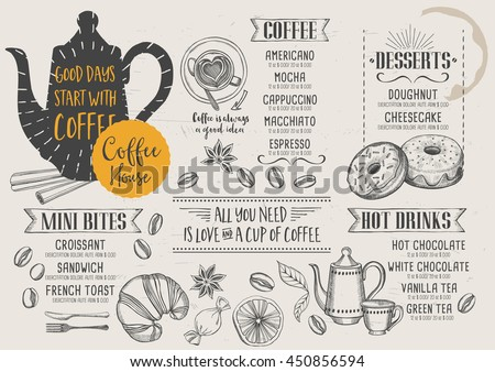 Coffee Restaurant Brochure Vector Coffee Shop Stock Vector