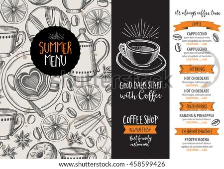 Coffee Restaurant Brochure Vector, Coffee Shop Menu Design. Vector Cafe  Template With Hand