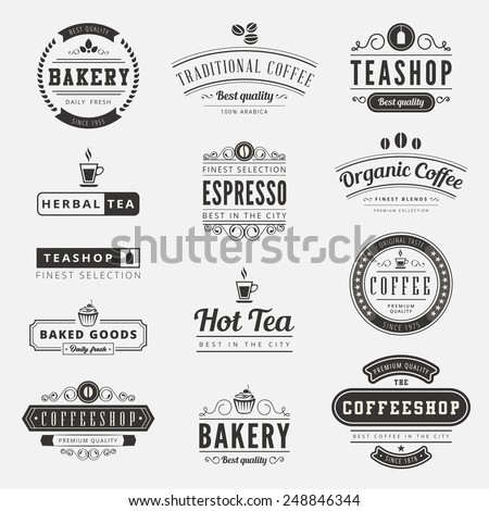 Coffee Retro Vintage Labels Logo design vector typography lettering inspiration templates.  Old style elements, business signs, logos, label, badges, stamps and symbols. Coffeeshop, tea, bakery theme. - stock vector