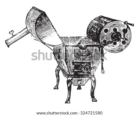 Coffee roaster, vintage engraved illustration. Industrial encyclopedia E.-O. Lami - 1875. - stock vector