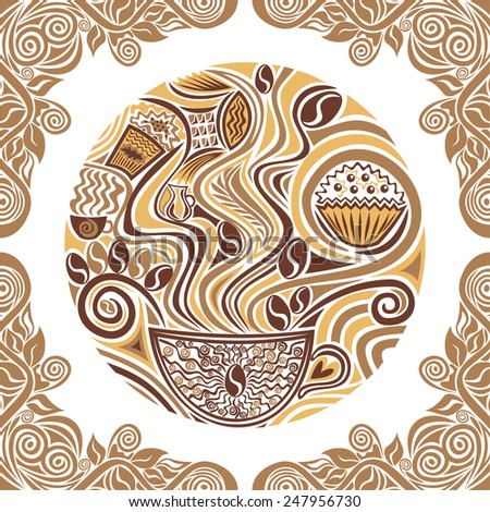 Coffee round pattern design element vector illustration - stock vector