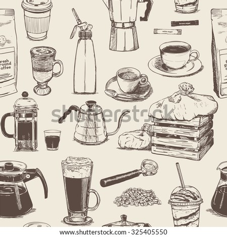 Coffee seamless pattern collection - stock vector