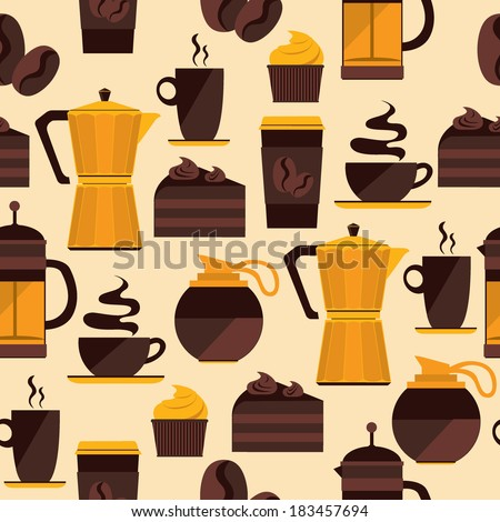 Coffee seamless pattern. Vector for menu, coffee shop, restaurant. - stock vector