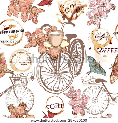 Coffee seamless pattern with bikes, cups, butterflies, coffee grunge spots and flowers - stock vector