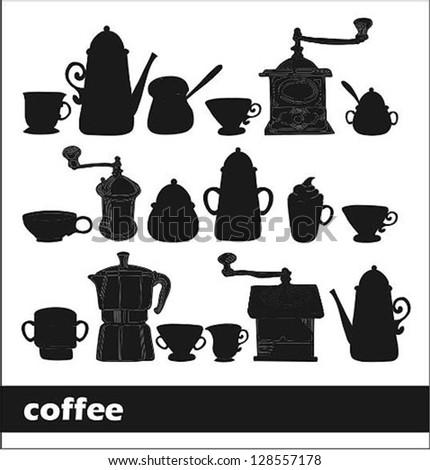 coffee set - stock vector