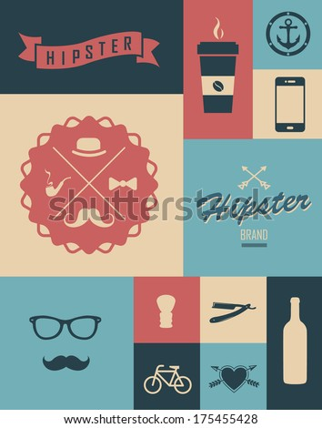 Coffee  set. Hipster style. Modern cafe. Lifestyle hipster.  - stock vector