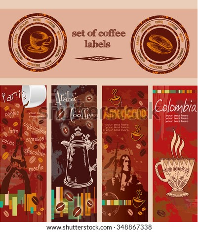 coffee. set of labels - stock vector