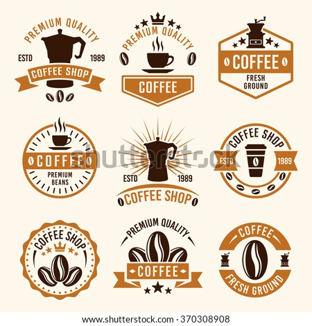 Coffee set of nine colored vector labels, badges, emblems and logos, templates in vintage style for Coffee Shop, Coffee House, Cafe, Restaurant, Design Packaging - stock vector