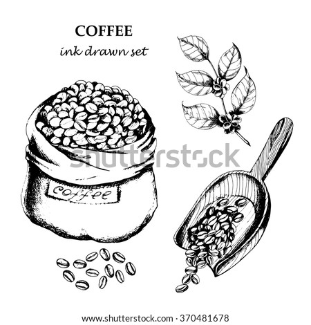 Coffee set with  coffee branch, coffee beans, bad of coffee, scoop of coffee. Hand drawn vector illustration in sketch style. Ink drawn. - stock vector