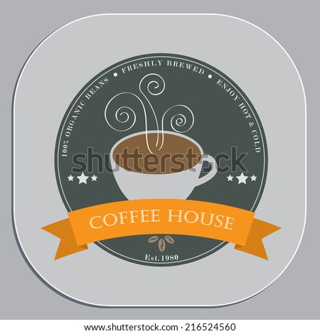 Coffee shop advertising design in coaster shape object - stock vector